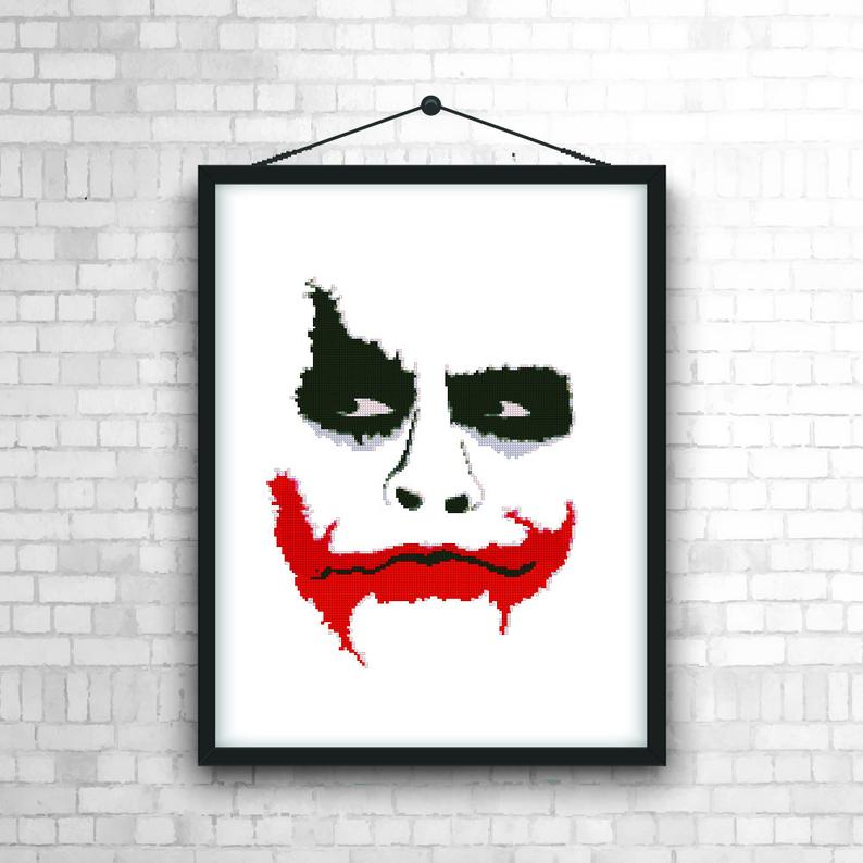 superman nursery decor.htm joker modern counted cross stitch pattern easy xstitch chart  dc  counted cross stitch pattern