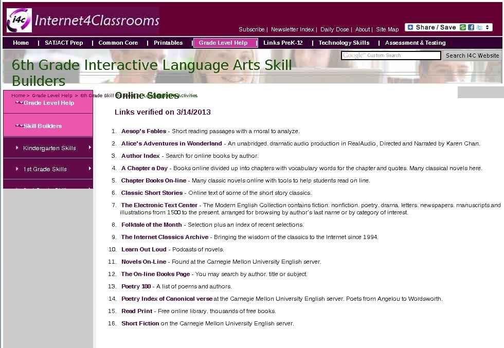 Sixth Grade Language Skill Builders Online Stories Language Arts