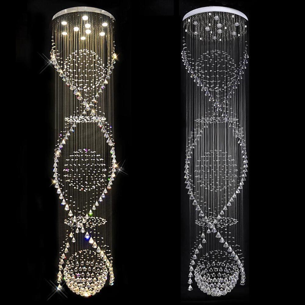 7PM Staircase Spiral Rain Drop Clear LED K9 Modern Crystal Chandelier Light Lighting Fixture