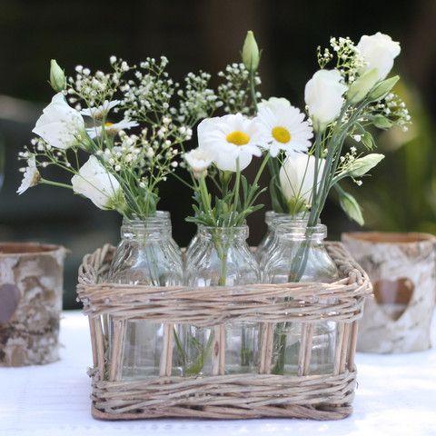 The Wedding Of My Dreams Mini Milk Bottles In Basket Theweddingofmydreams