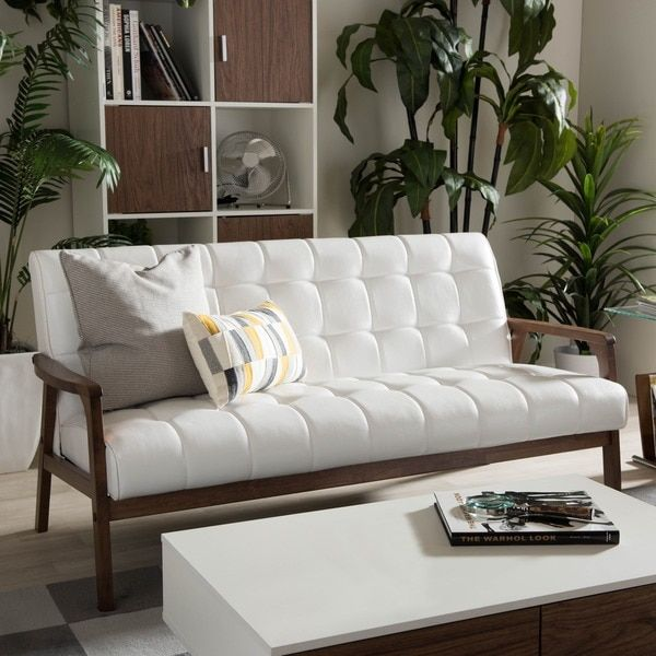 Sofas For Sale Baxton Studio Mid century Masterpieces White Faux Leather Sofa Free Shipping Today Overstock