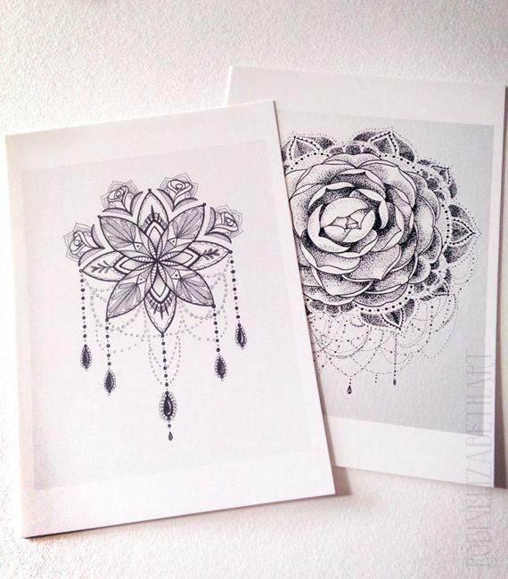 a496c6275 Set of 2 Pen and Ink Postcard Prints - Mandala Art- Dotwork Design