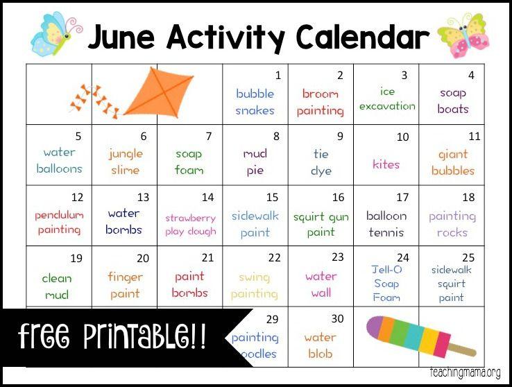 June Activity Calendar We, Activities and The ou0027jays - activity calendar
