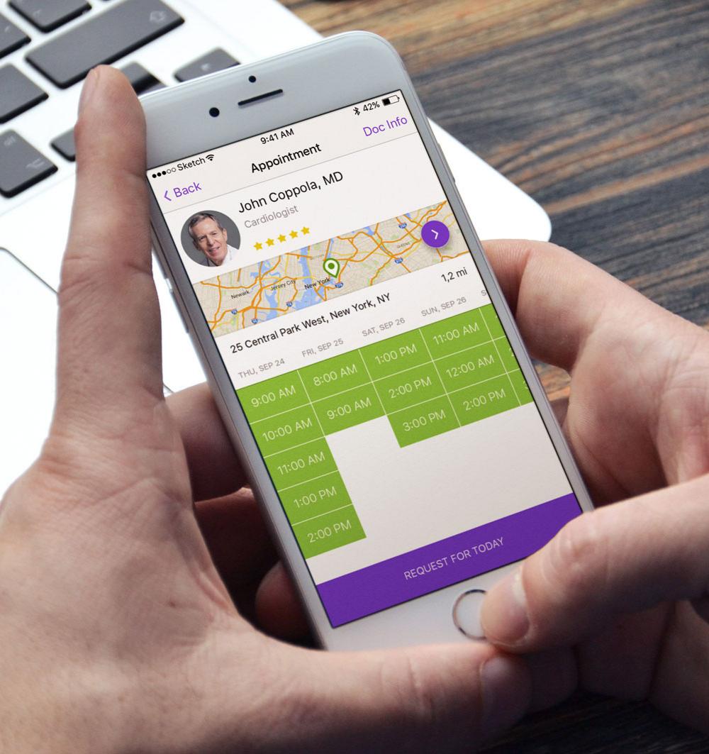 IsDocIn App design, Mobile app, App