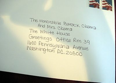 Send a birth announcement to the White House; get a card back from the Obamas!