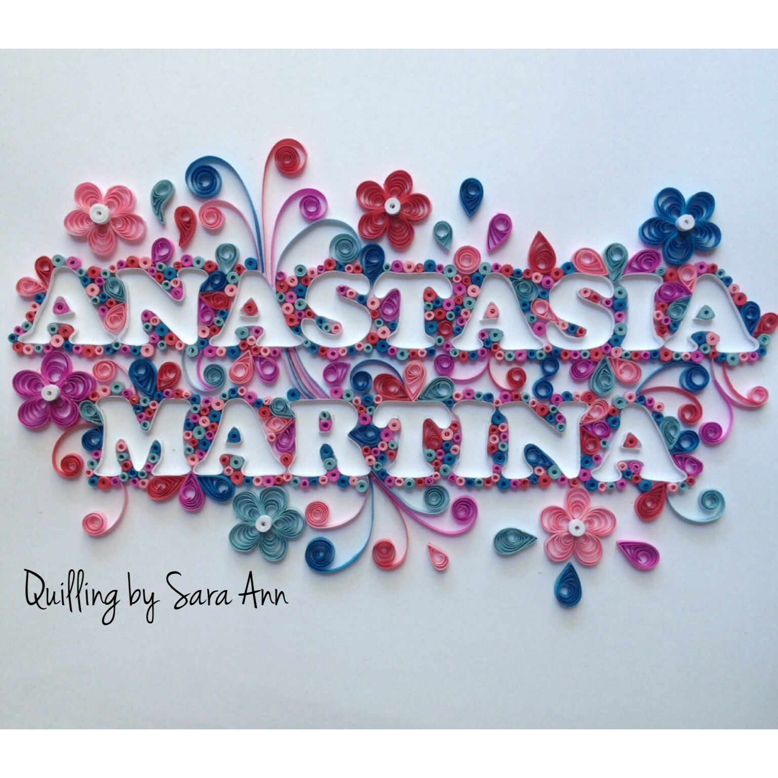 Quilling by sara ann paper quilling name baby nursery for Quilling strips designs
