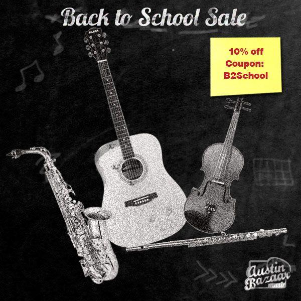 #austinbazaarcoupon Back to School #sale is going strong! #ukuleles #guitars #band #violins #flutes August 5, 2014 - September 1,2014