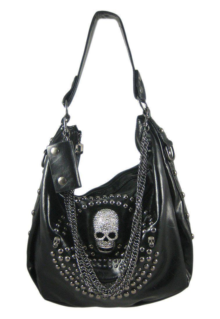 Amazon.com  Glossy Black Gunmetal Studded Rhinestone Skull Handbag ... 96e35b750446e