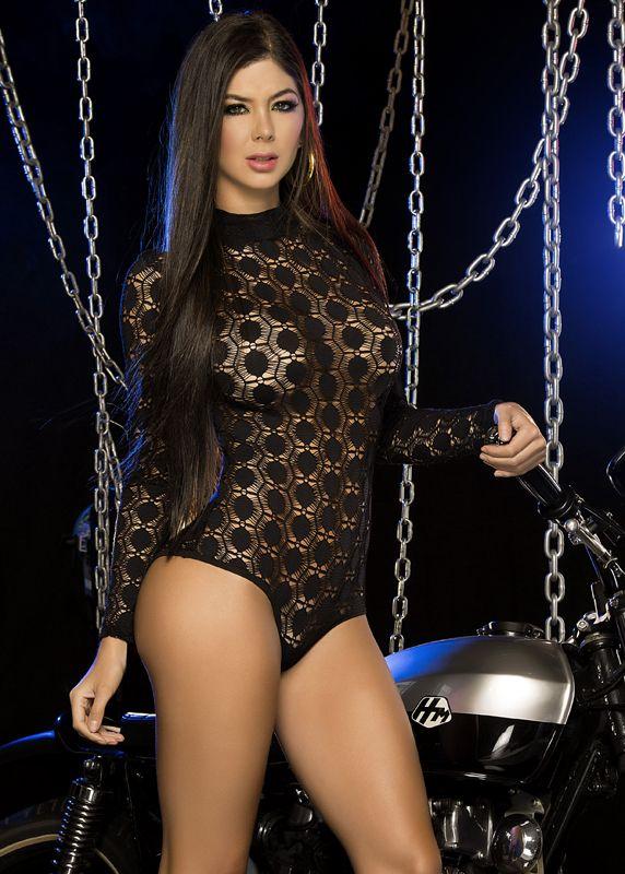 Black Long Sleeve Net Bodysuit Romper Outfit A Sure -8224