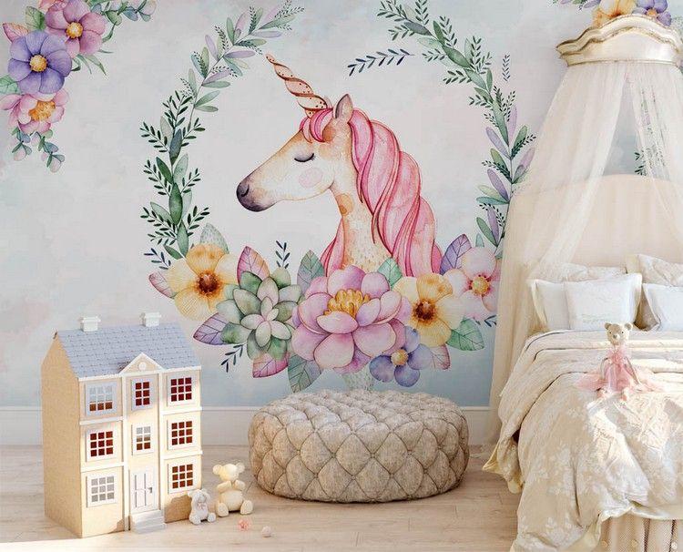 kinderzimmer für mädchen einhorn deko motiv tapete design