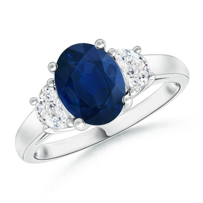 Angara Prong Set Oval Sapphire and Pear Diamond Three Stone Ring in Platinum