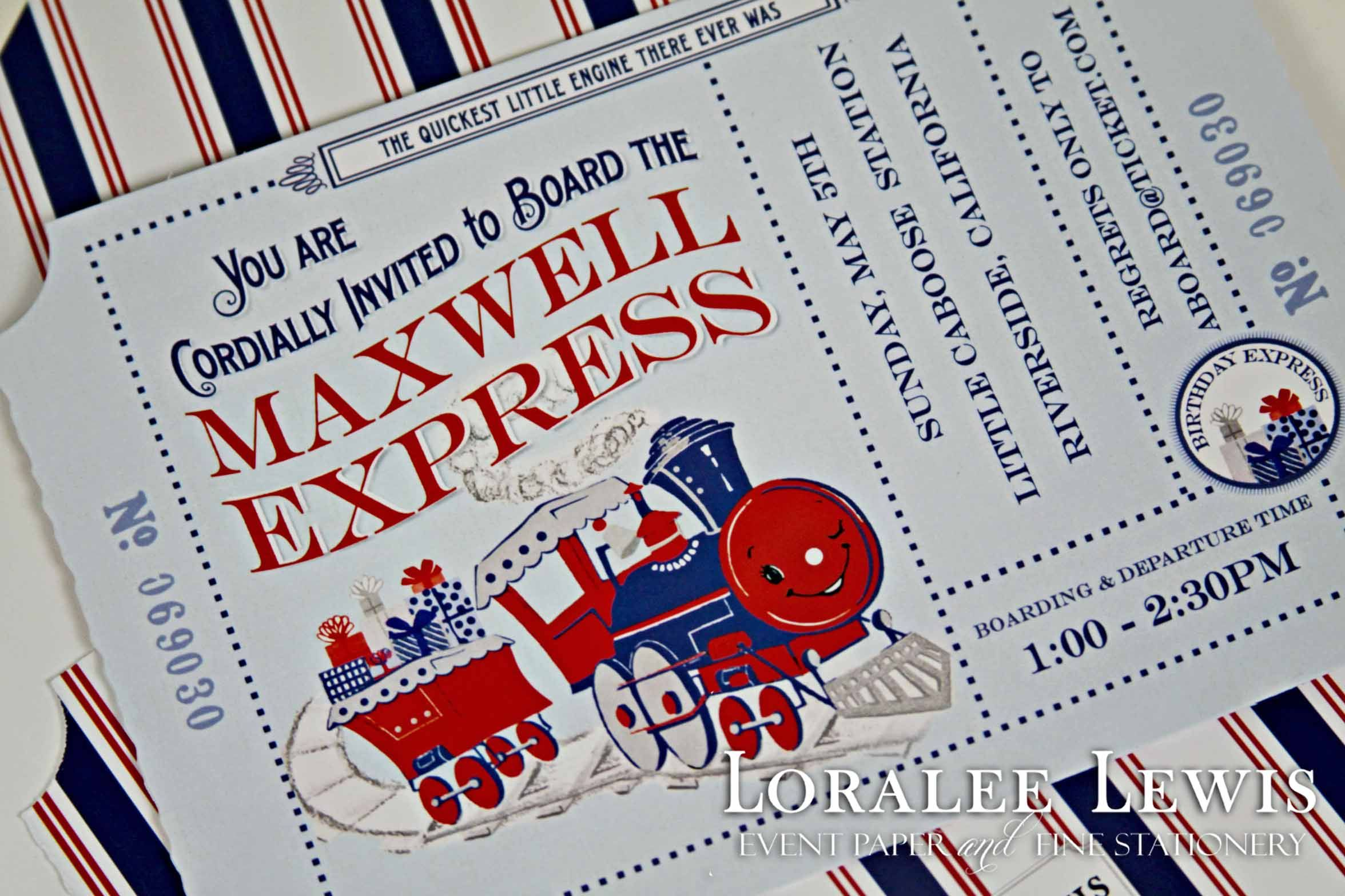 """Train Invitation This personalized invitation measures 5""""x7"""" and includes white envelopes with coordinating Train liners. Also available in Fill-in-the-Blank version.  Printed on heavy 130lb. cardstock."""