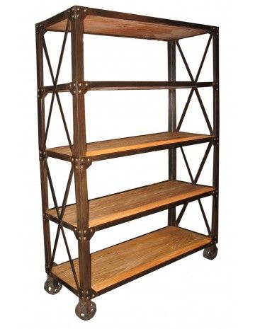 Rustic Industrial Bookcase Shelf With Wheels Elm Shelf W