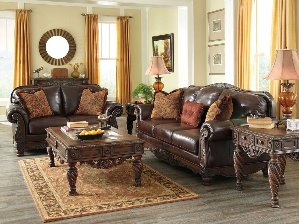 Brentwood   Euro Traditional Genuine Leather Sofa Couch Loveseat Set Living  Room