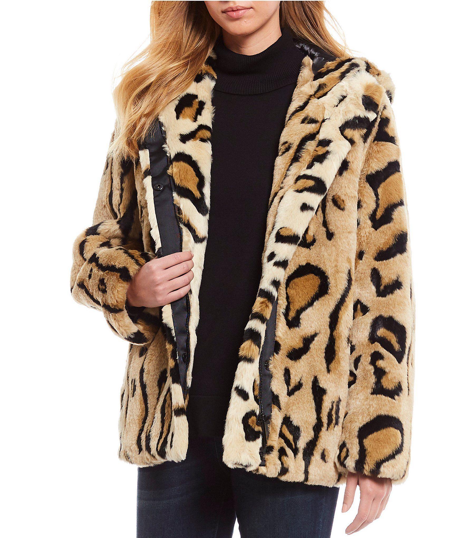 Hooded Cheetah Bomber Faux Fur Coat In 2020 Cheetah Jacket Faux Fur Cheetah Coat Calvin Klein