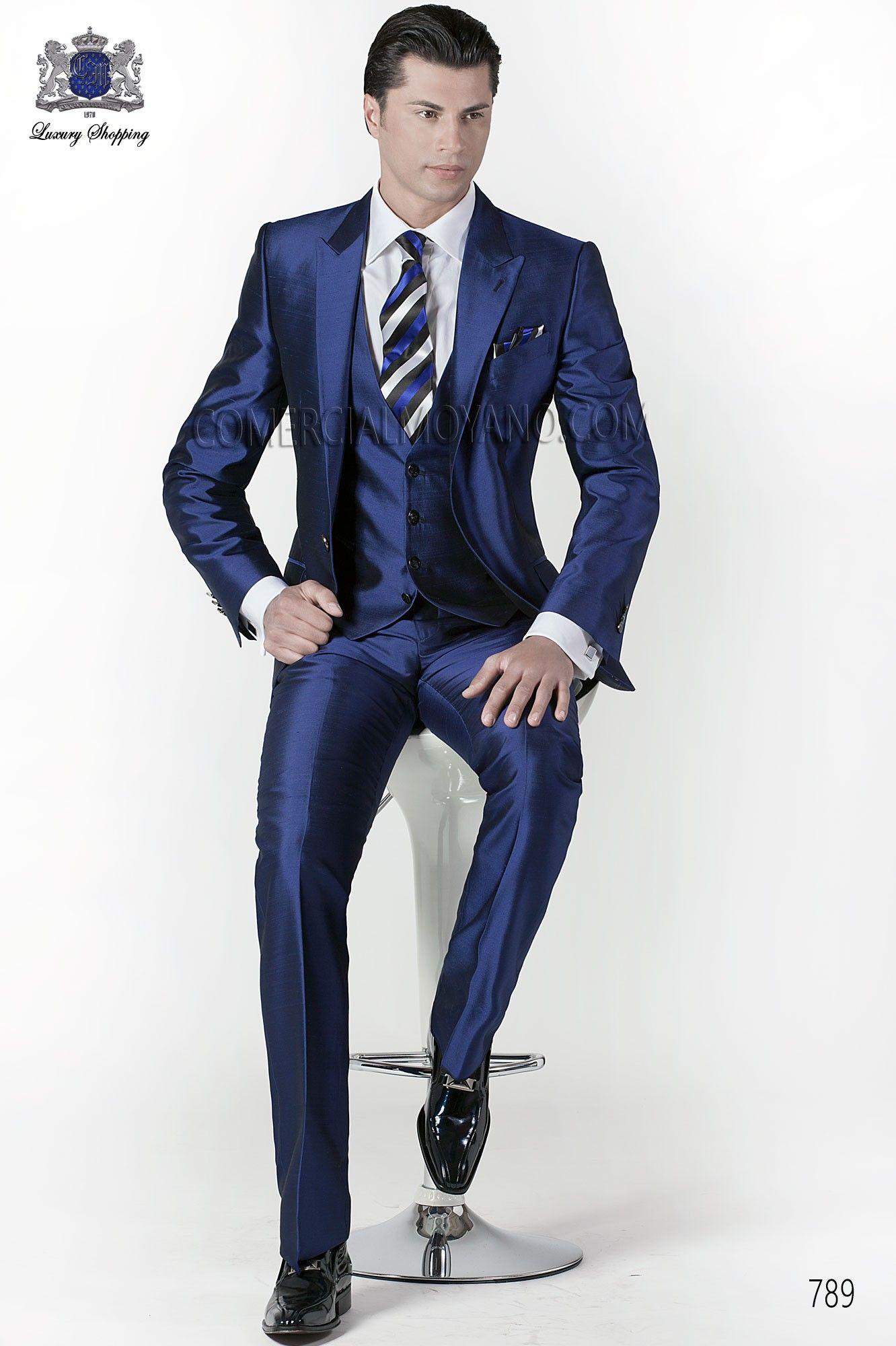 563b695cb07 Traje de novio italiano a medida azul 3 piezas
