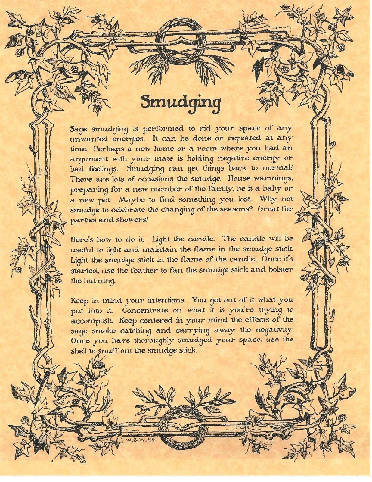 BOOK OF Shadows Spell Pages ** How to Perform a Smudging