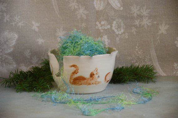 Ceramic Wheel Thrown Yarn Bowl Knit Crochet Bowl with Kitty Cat Design # 127   - Products #crochetbowl