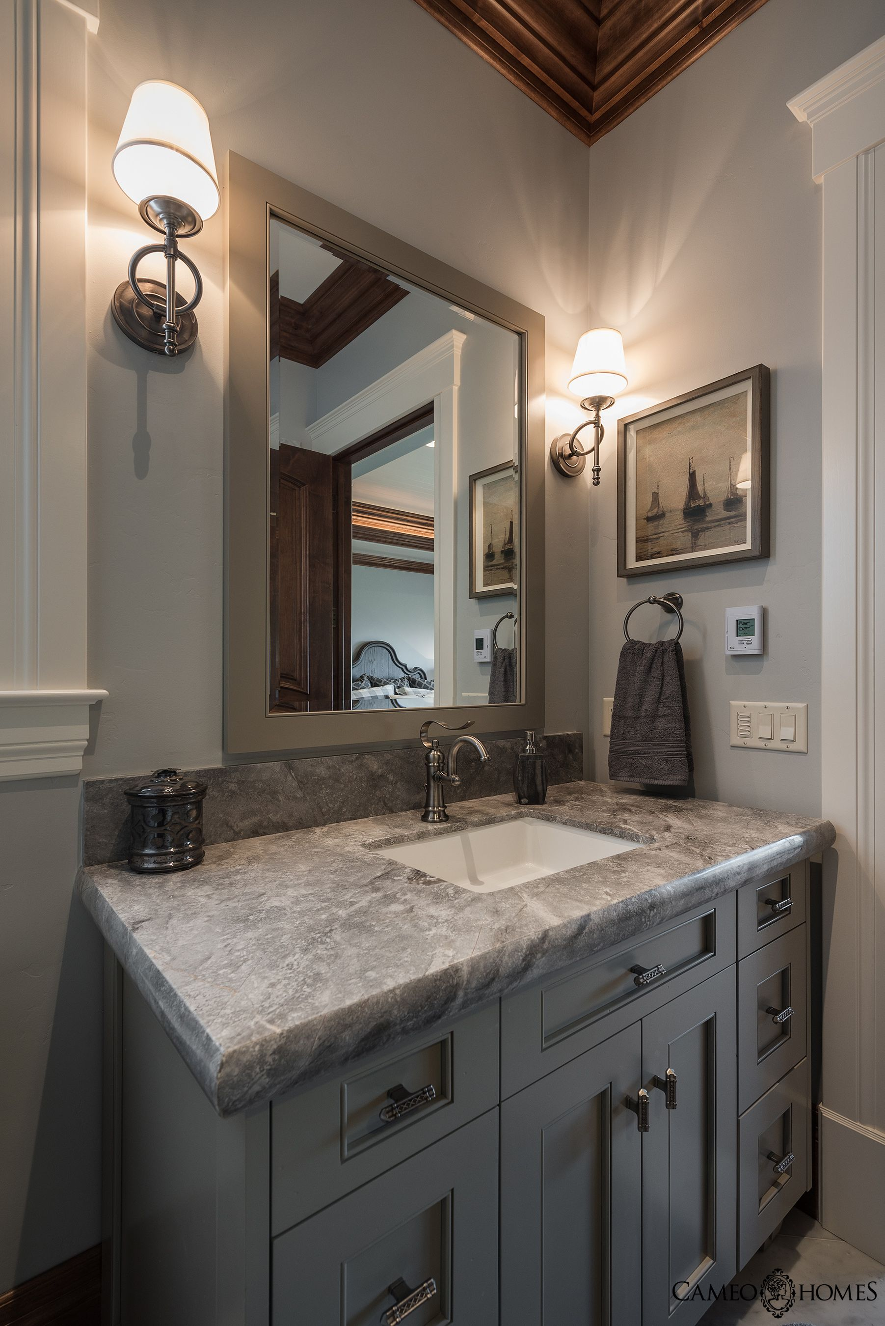Stunning Powder Bathroom. Cabinets by Highline Cabinets in ...