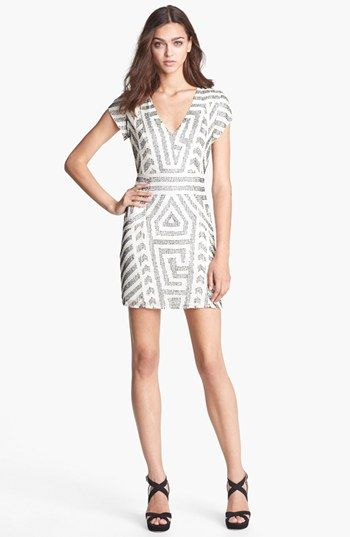 279724f1ed736 Parker 'Serena' Beaded Silk Sheath Dress available at #Nordstrom $385