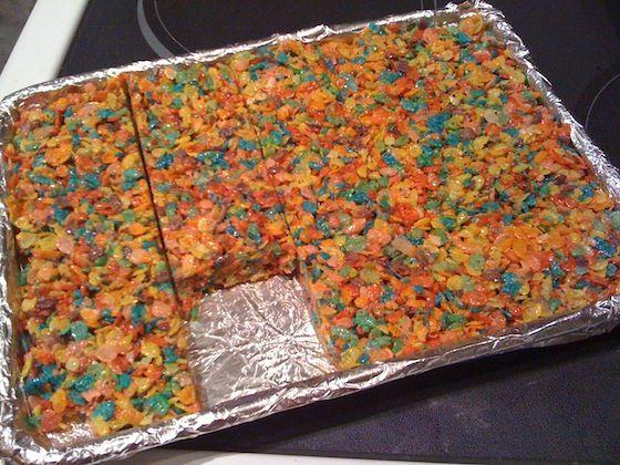 Fruity pebble rice crispy treats. fun yumm and rainbow