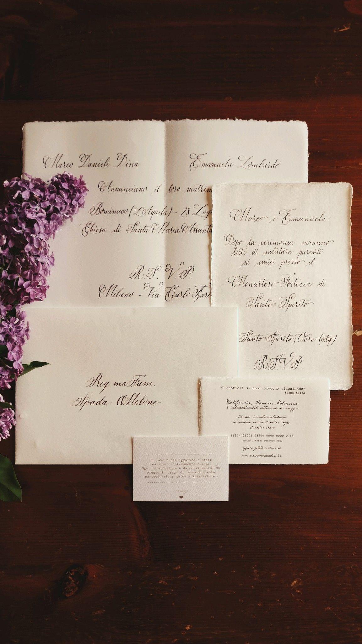 Partecipazioni Matrimonio Scritte.Partecipazioni Scritte A Mano Con Pennino Calligrafico Su Carta