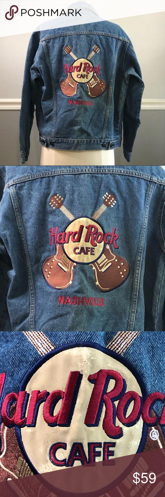 Hard Rock Cafe Nashville Guitar Logo Jean Jacket Cafe Jacket Jackets Jean Jacket [ 1740 x 580 Pixel ]