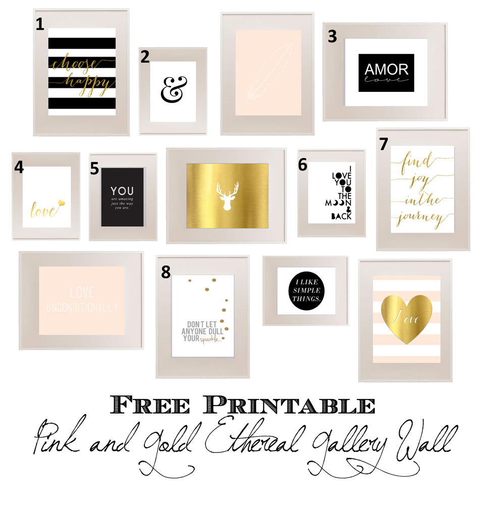 Bedroom Art Printables: Pink And Gold Ethereal Teen Bedroom