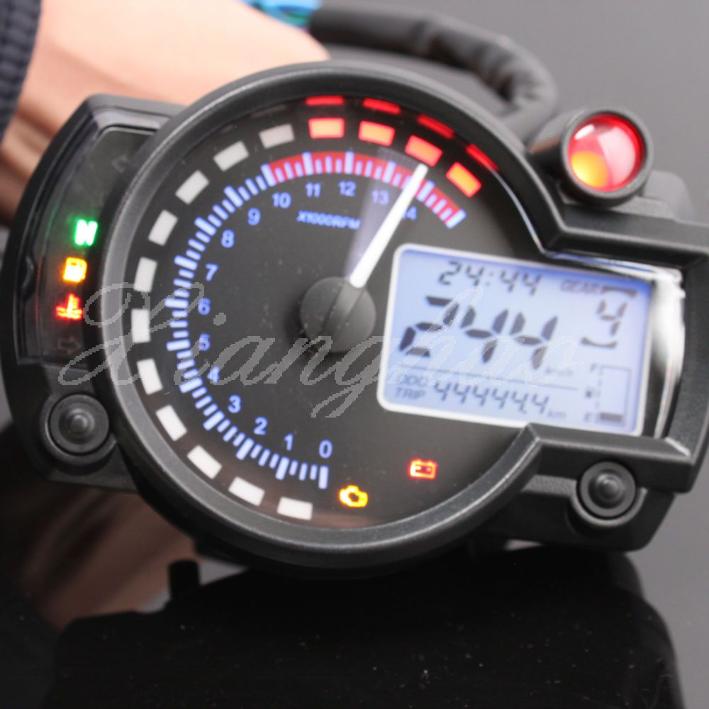Universal Motorcycle Odometer Speedometer Tachometer Gauge Rpm 15000 Lcd Digital Bike Parts Motorcycle Parts Custom Bikes