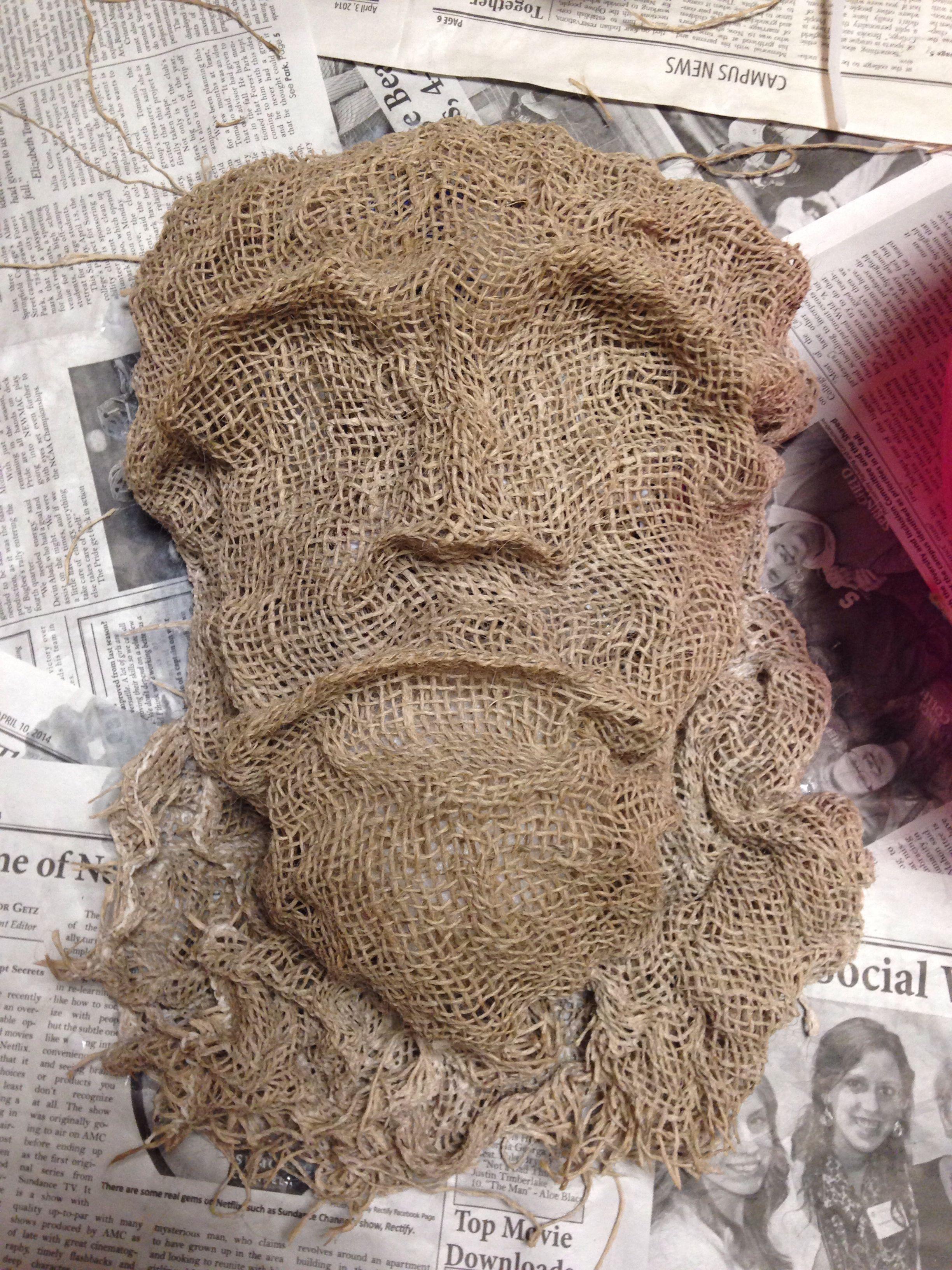 Mask made of burlap and glue/water!! Burlap halloween