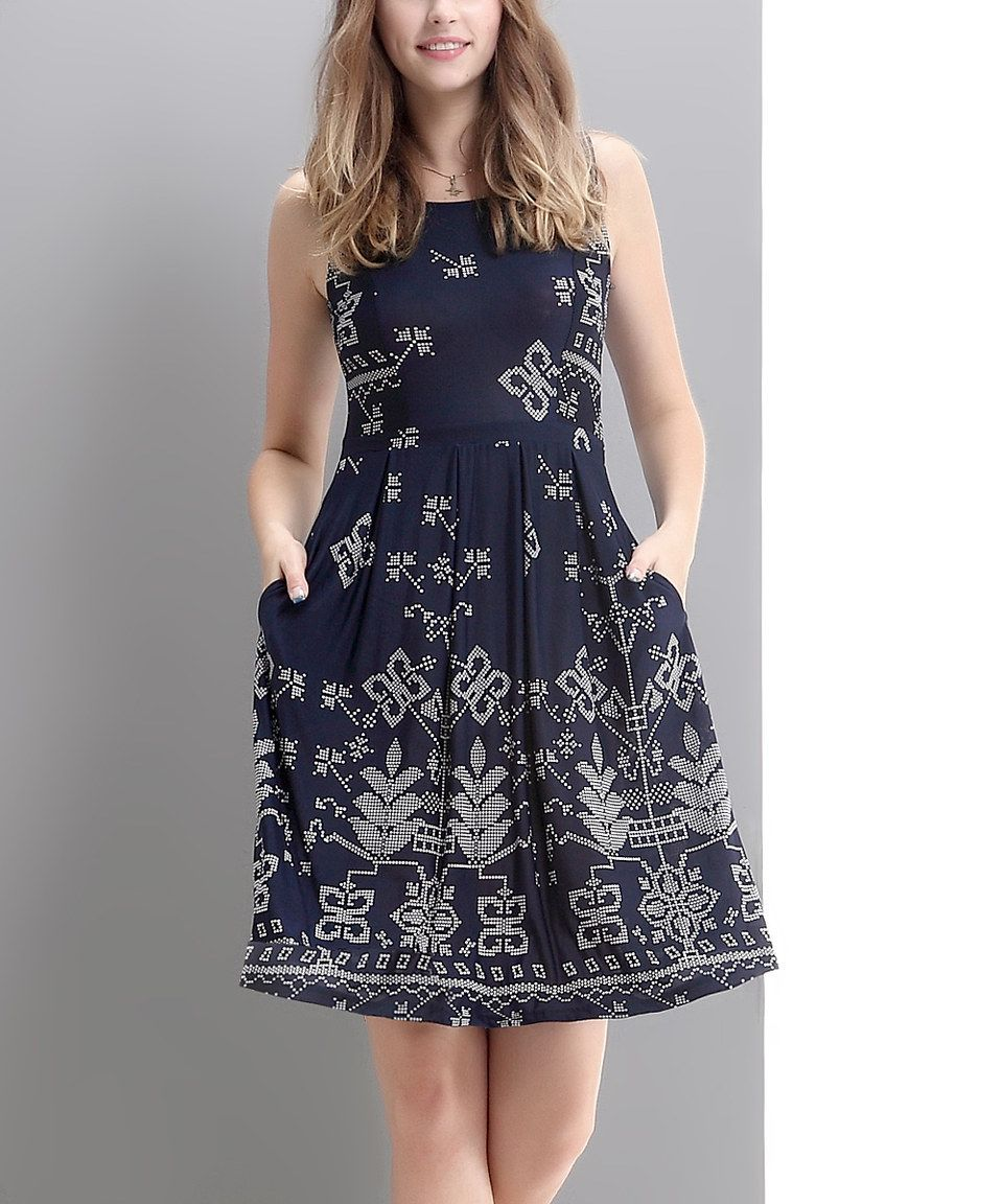 Look what I found on  zulily! Navy Picotage Fit   Flare Dress by Reborn  Collection  zulilyfinds 06e4ae427