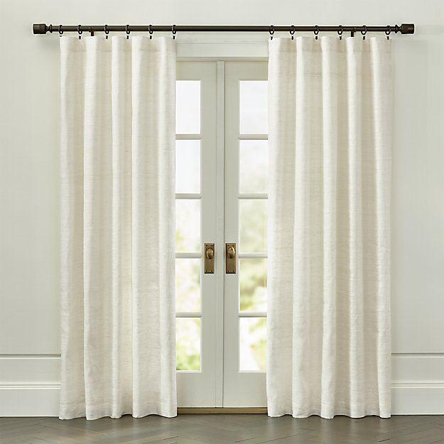 Silvana Grey Silk Curtain Panel Crate And Barrel White
