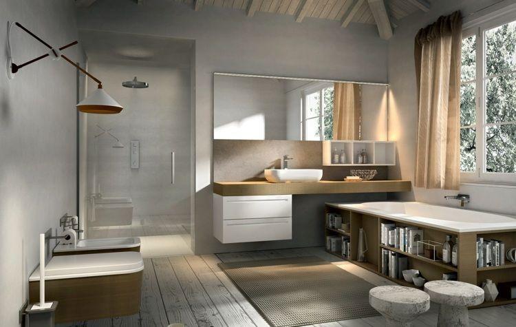 Badezimmermöbel Set Holz und Keramik bilden reizvolles