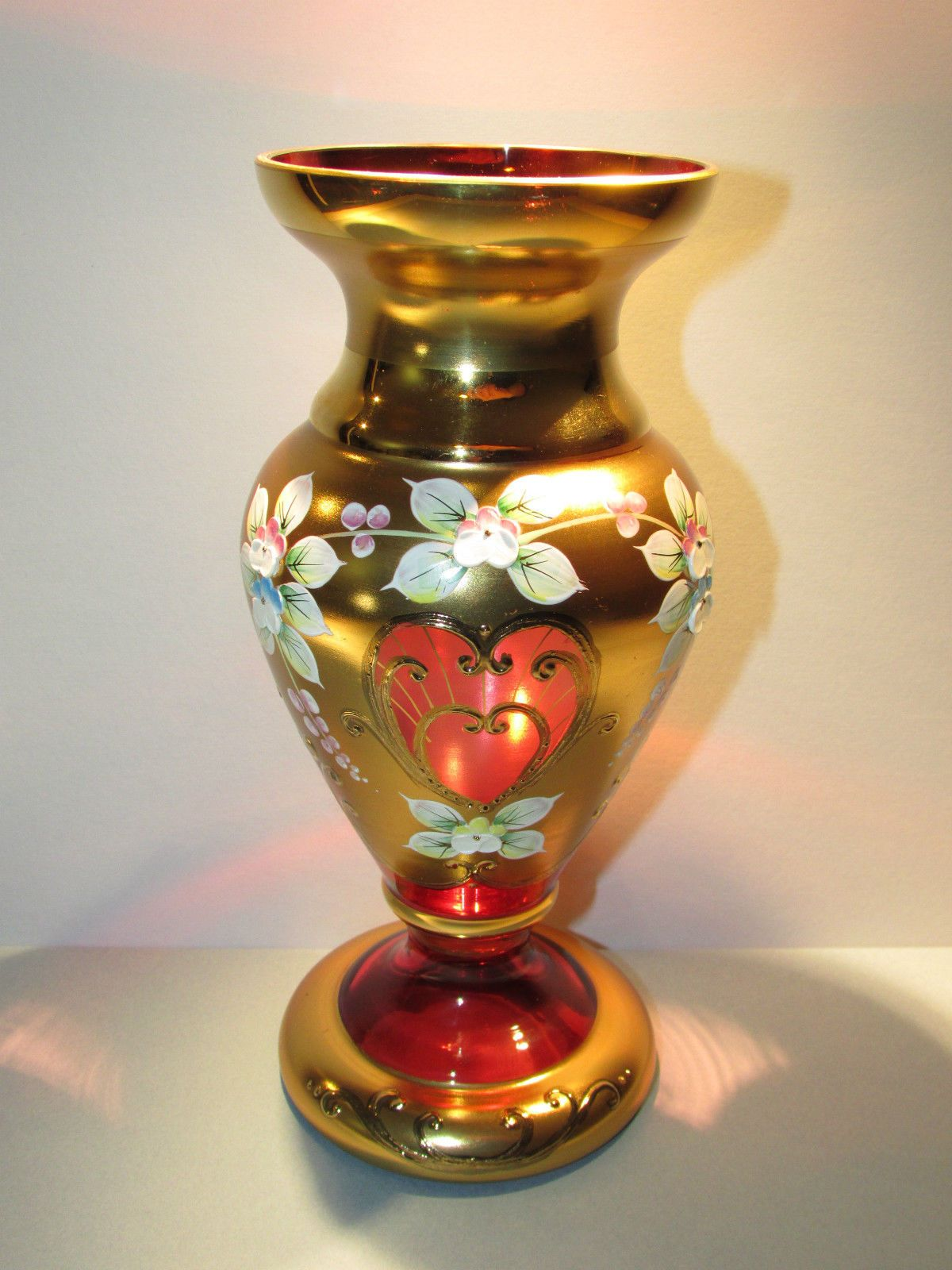 Czech bohemian high enamel red gold vase cranberry glass hand czech bohemian high enamel red gold vase cranberry glass hand painted egermann ebay reviewsmspy