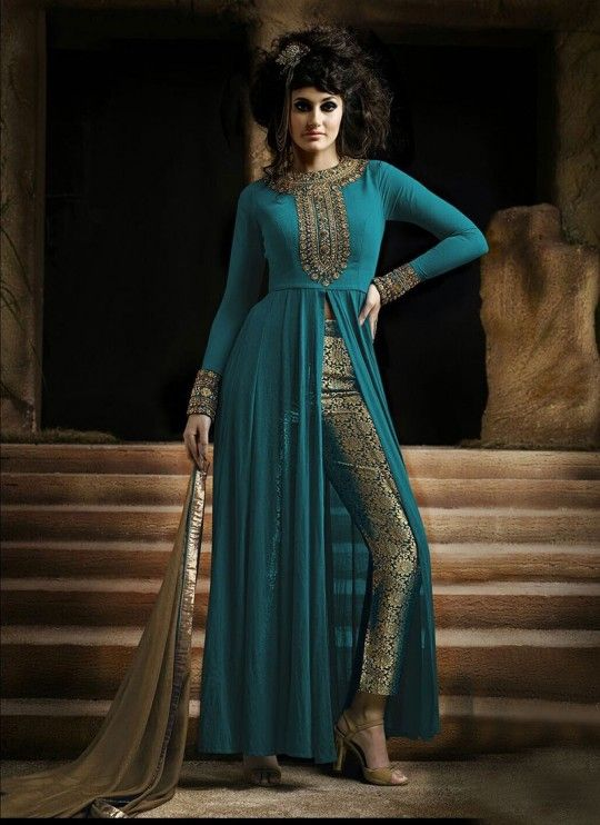 17dcd6f70a Buy online Suits Pants - Teal georgette suit with brocade pant from Ethnic  Code | Buy teal suits, teal pants, georgette suits, georgette pants