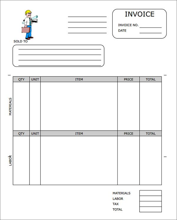 contractor invoice samples