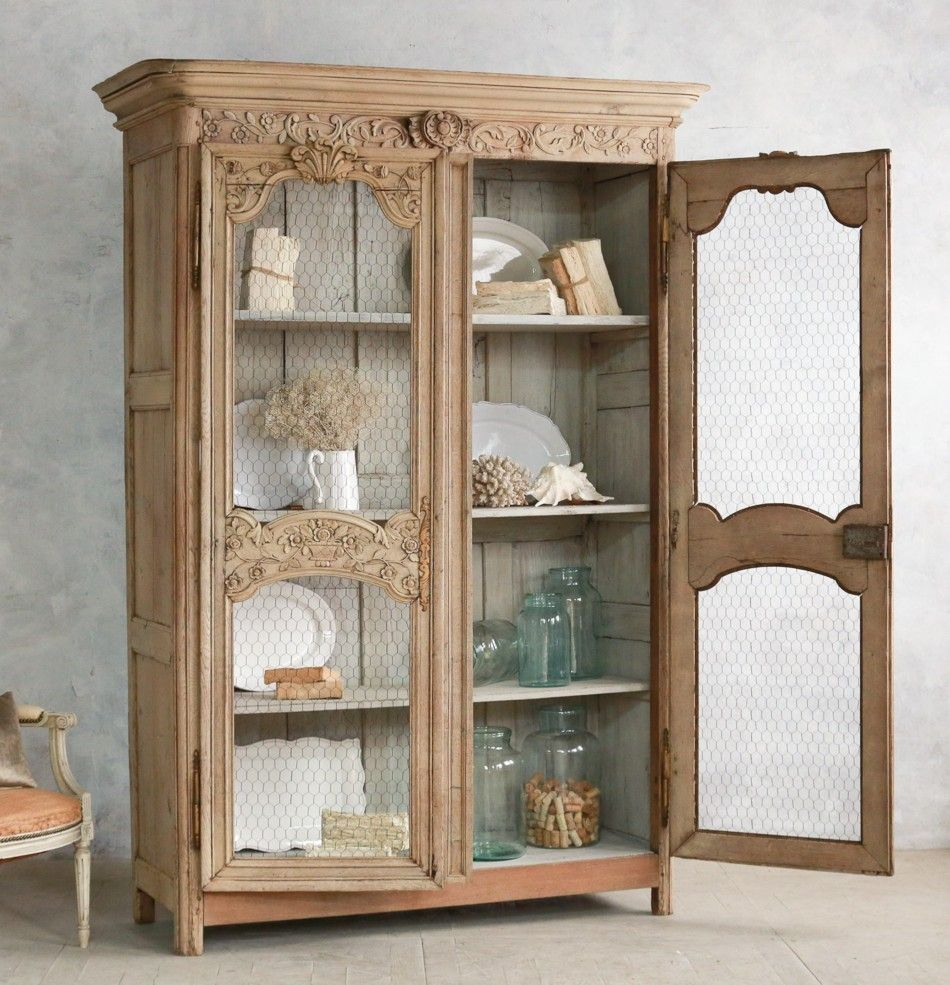 French Provincial Kitchen Cabinets: Antique 19th Century French Country Marriage Trousseau Oak
