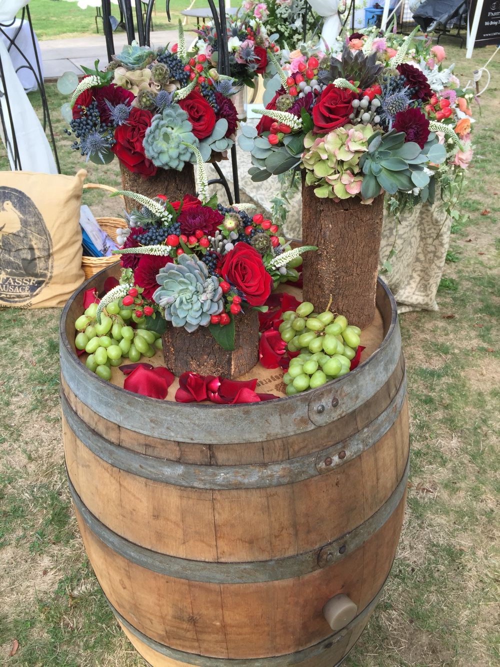 Gorgeous wine barrel succulent and tree bark vases in outdoor gorgeous wine barrel succulent and tree bark vases in outdoor setting contact marion at the reviewsmspy