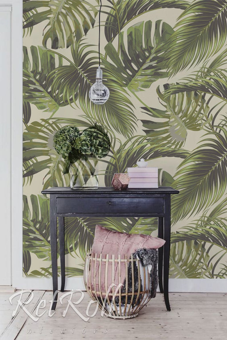 Tropical Paradise Removable Wallpaper Design Wall Etsy Watermeloen
