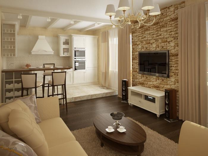 Гостиная, совмещенная с кухней, в частном доме | Интерьер ...
