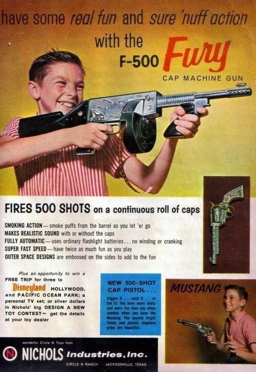 Toy guns from the past. What fun we had playing Cowboys and Indians or Cops