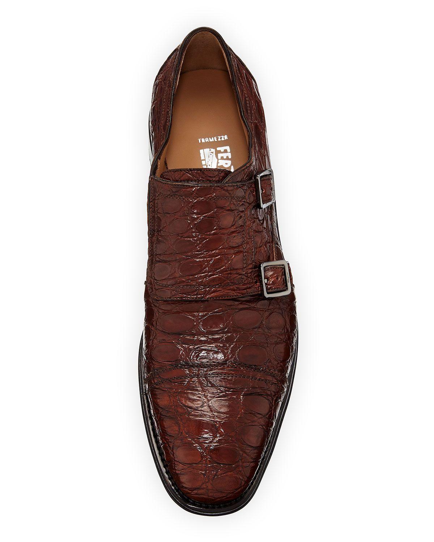 033b99923 Salvatore Ferragamo Tramezza Crocodile Double-Monk Shoe