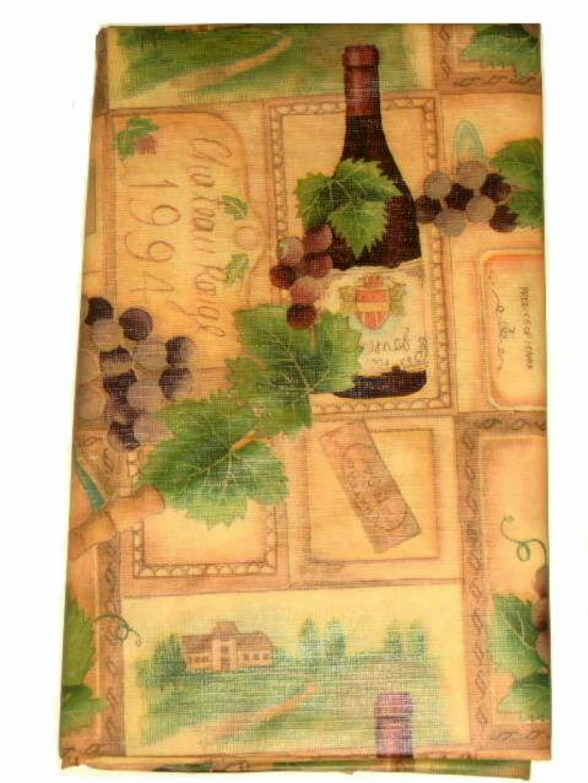 This wine themed tablecloth features grapes, wine bottles, estates ...