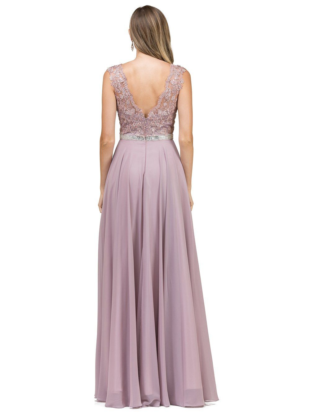 Dq pastel prom dress with illusionlace bodice u chiffon
