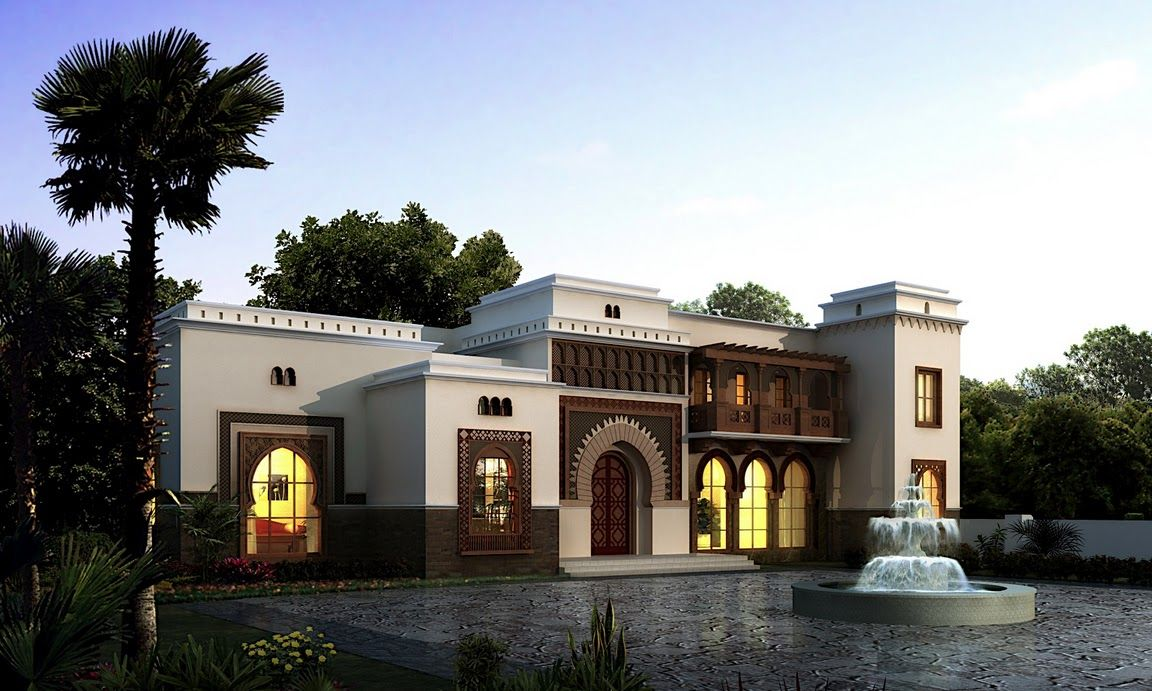 Arabic Style Villa Section 02 By Dheeraj Mohan At Coroflot Com Morrocan Architecture Classic House Design House Designs Exterior