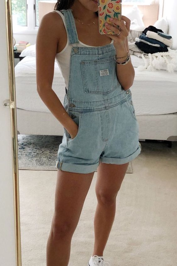 Wardrobe Basics Ripped Denim Romper Shorts Jean Overalls &Ndash; Sunifty Jumpsuit - Womens Fashion