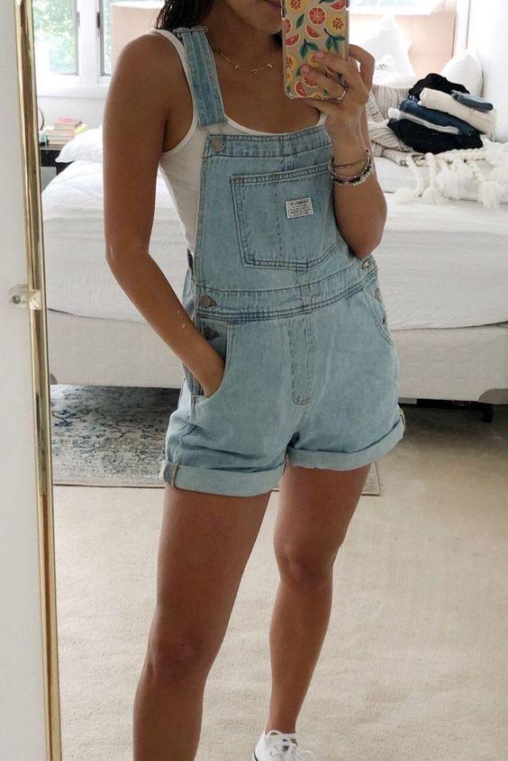 Wardrobe Basics Ripped Denim Romper Shorts Jean overalls