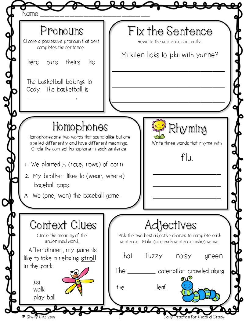 Grammar review for 2nd grade--Free morning work   2nd grade grammar [ 1056 x 816 Pixel ]