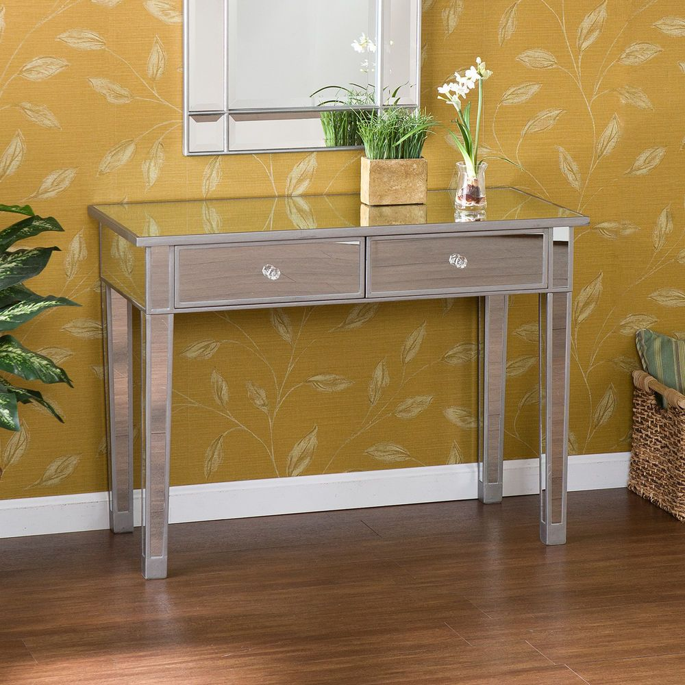 Console table front foyer entry way two drawers wood glossy mirrored