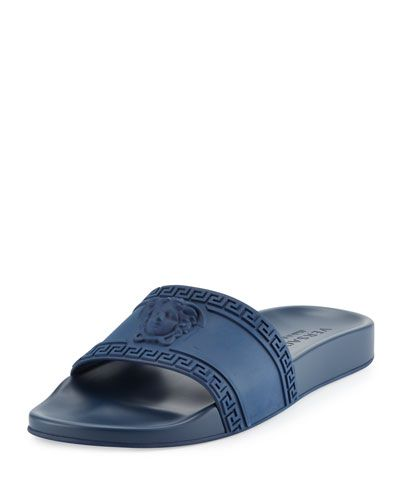 Slide Key amp; Shower Sandal Medusa Men's versace Versace Greek Navy qwOgI7Ypyx